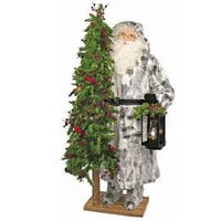 """57"""" Father Christmas Winter Woods Santa with Lantern and Pre-Lit Tree - Clear LED Lights - WHITE"""