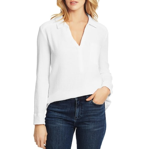 1.State Womens Henley Top Cotton Gauze