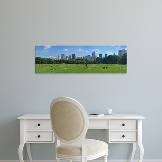 Easy Art Prints Panoramic Image 'Tourists in park, Sheep Meadow, Central Park, Manhattan, New York City' Canvas Art