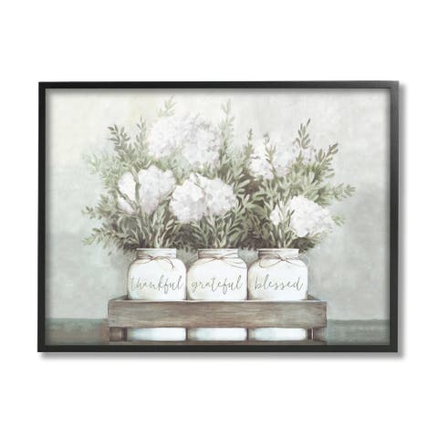 Stupell Industries Pristine Hydrangea Bouquets Thankful Grateful Blessed Sentiment Framed Wall Art - Off-White