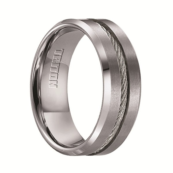Curtis Tungsten Wedding Band With Steel Cable Inlay By Triton Rings 8mm
