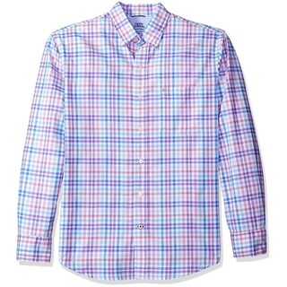 IZOD NEW Blue Mens Size Medium M Button Down Relaxed Fit Gingham Shirt