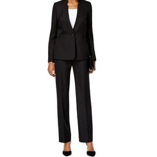 Tahari By ASL NEW Black Pinstriped Women 8 Single-Button Pant Suit Set