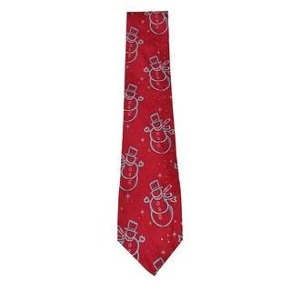 John Ashford Men's 'Chalkline' Snowman Jacquard Tie (OS, Red) - Red - OS