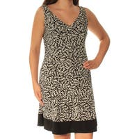 AMERICAN LIVING Womens Black Printed Sleeveless V Neck Above The Knee Fit + Flare Dress  Size: 6