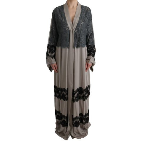 Dolce & Gabbana Gray Floral Applique Lace Kaftan Women's Dress - it42-m