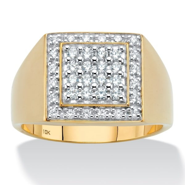 Men's 10K Yellow Gold Round Grid Ring Cubic Zirconia (5/8 cttw TDW). Opens flyout.