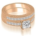 1.55 cttw. 14K Rose Gold Antique Princess Cut Diamond Bridal Set - Thumbnail 0