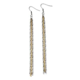 Chisel Stainless Steel Polished & Yellow IP-plated Long Dangle Earrings