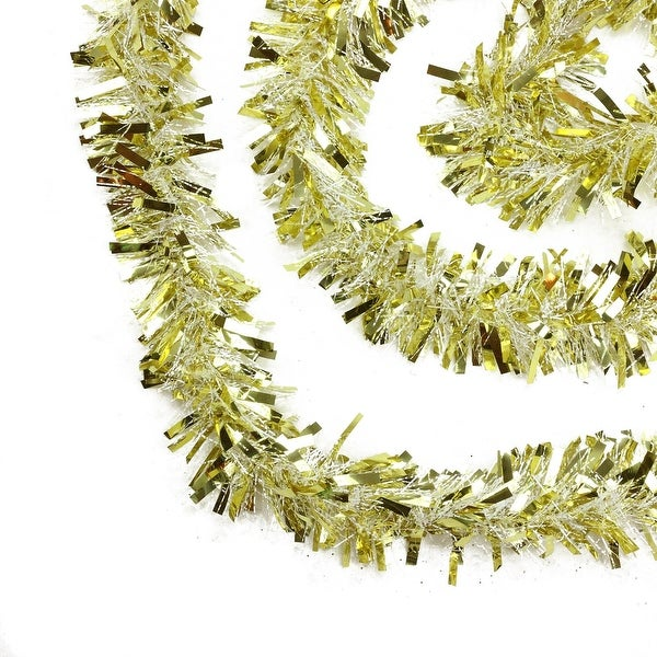 50' Gold and White Wide Cut Christmas Tinsel Garland - Unlit
