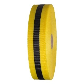 """Woven Barricade Tape 2"""" x 150 ft Yellow with Black Stripe 48 Roll Case"""