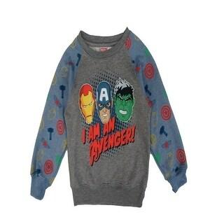 """Marvel Little Boys Grey """"I Am An Avenger"""" Print Long Sleeved Sweater"""