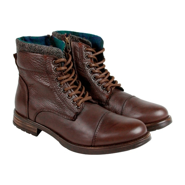 GBX Tosh Mens Brown Leather Boots Strap Boots Shoes