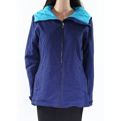 Marmot Womens Blue Size Medium M Quilt-Lined Front-Zip Hooded Jacket