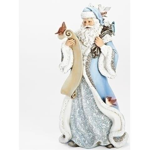 "14"" Powder Blue Santa With Feather Friends Figure"