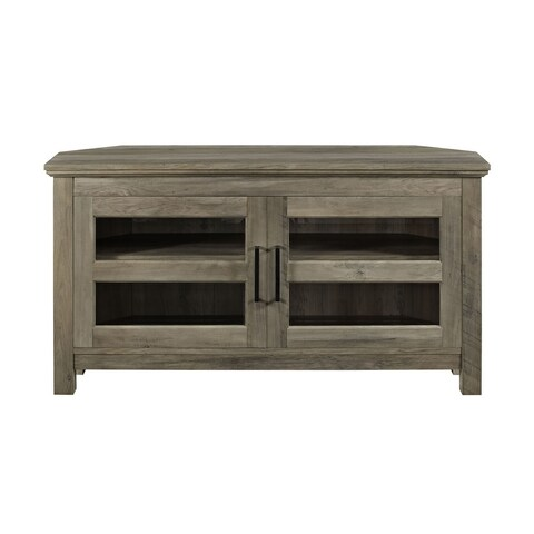 "WE Furniture 44"" Corner Wood TV Console - Grey Wash"