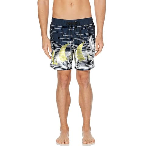 Perry Ellis Mens Blue Size Small S Drawstring Sailboat Swim Wear Trunks