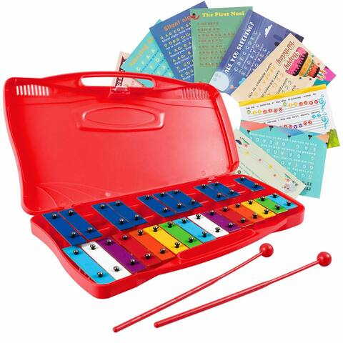 Gymax 25 Notes Kids Glockenspiel Chromatic Metal Xylophone w/ Red Case