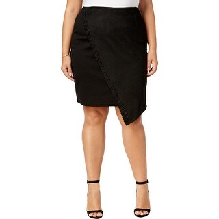 MBLM By Tess Holliday Womens Plus Pencil Skirt Faux Suede Whipstitch