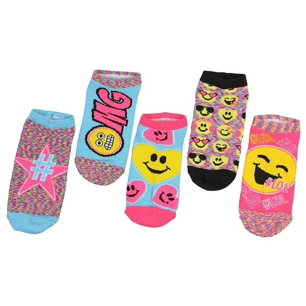 Emojination Emoji #LOL OMG Girls 5 Pack No Show Ankle Socks