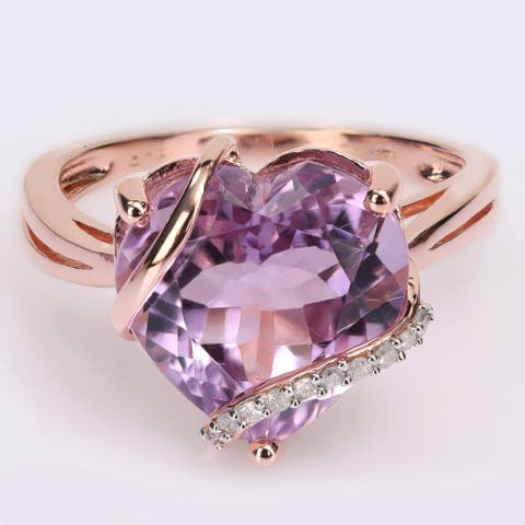 Miadora Heart-cut Amethyst and Diamond Accent Swirl Cocktail Split Shank Ring in Rose Plated Sterling Silver