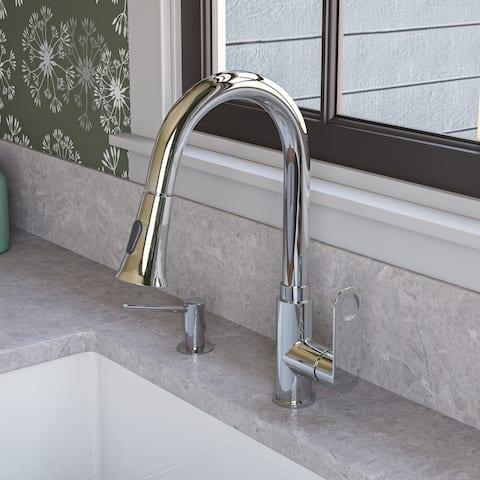 Polished Chrome Gooseneck Pull Down Kitchen Faucet