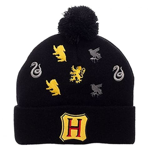 Harry Potter Hogwarts Houses Embroidered Logos Pom Beanie - multi