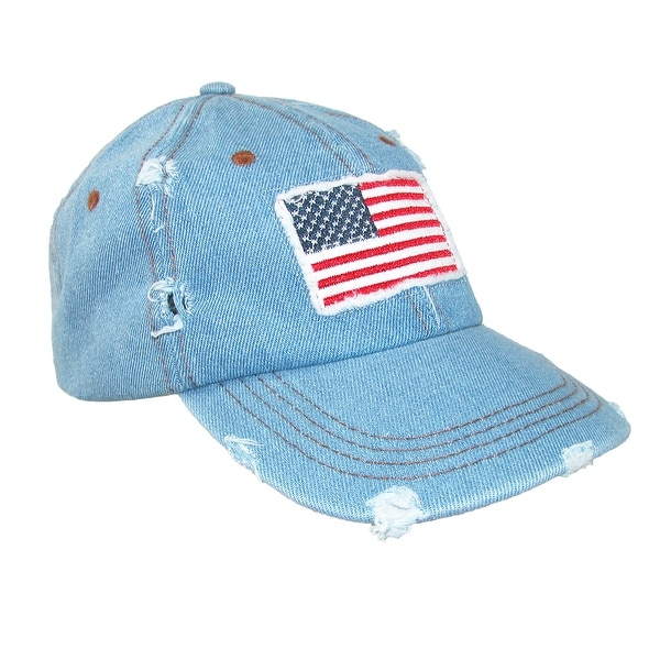David & Young Women's Distressed Cotton American Flag Baseball Cap