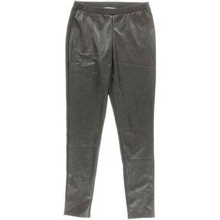 MICHAEL Michael Kors Womens Faux-Leather-Front Skinny Leggings
