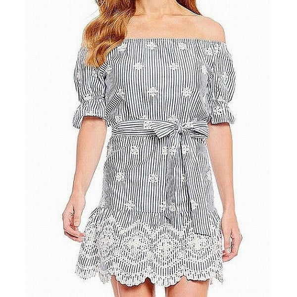 9e5993097e32 Shop WAYF Blue Womens Size 6 Off Shoulder Pinstriped Eyelet Shift Dress -  Free Shipping On Orders Over  45 - Overstock - 27985130