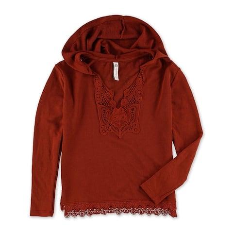 American Rag Womens Crochet Trim Hoodie Sweatshirt