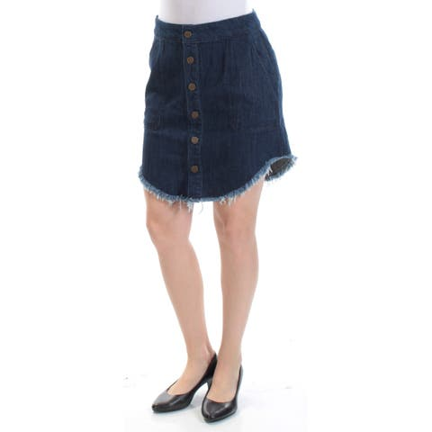 RACHEL ROY Womens Blue Frayed Pocketed Button Front Denim Mini A-Line Skirt Size: 0