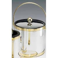 Kraftware 76468 Mylar Brushed Chrome and Brass 3 Quart Ice Bucket with Bale Handle  Bands and Metal Cover