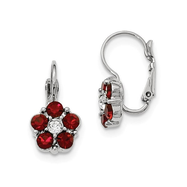 Silvertone Red and White Crystal Dangle Earrings