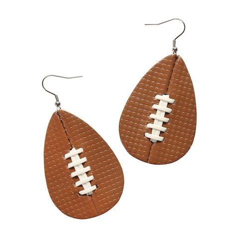 Amanda Blu Women's Sports Ball Earrings, Textured Leather over Stainless Steel