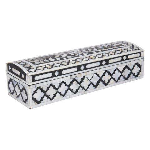 "GAURI KOHLI Jodhpur Mother of Pearl Inlay Decorative Box in Midnight Black - 12"" X 4"" X 3"""