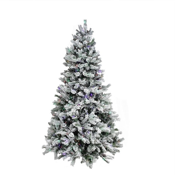 7.5' Pre-Lit Flocked Layered Utica Fir Artificial Christmas Tree - Multi Lights