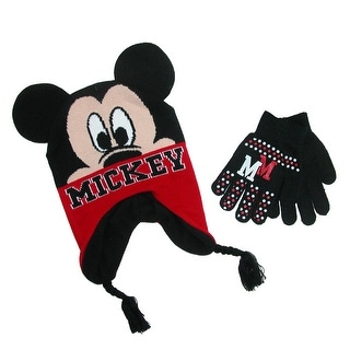 Disney Boy's Mickey Mouse Hat and Gloves Winter Set - Black - One size