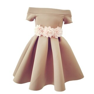 Little Girls Cappuccino Dimensional Floral Belt Accent Flower Girl Dress