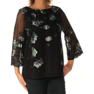 CHARTER CLUB $89 Womens New 1840 Black Floral Embroidered Sheer Top L B+B