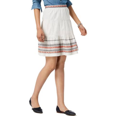 Tommy Hilfiger Womens Flounce Skirt Embroidered Mini - Ivory