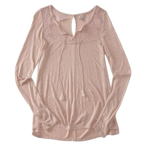 Aeropostale Womens Lace Ls Embellished T-Shirt