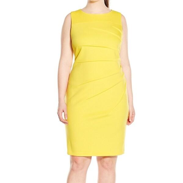 b10d06238ad Calvin Klein NEW Yellow Women  x27 s Size 14W Plus Starburst Sheath Dress