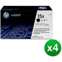 HP 15X High Yield Black Original LaserJet Toner Cartridge (C7115X) (4-Pack)