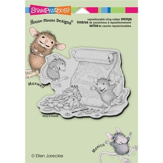 "Stampendous House Mouse Cling Stamp 5.5""X4.5"" -Caffeine High"