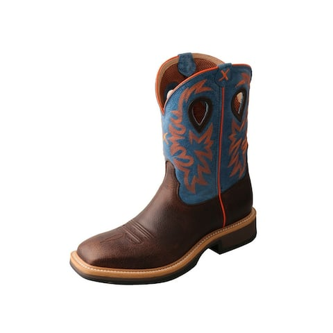 """Twisted X Work Boots Mens WS Toe 11"""" Pull On Brown Blue - Brown Blue"""