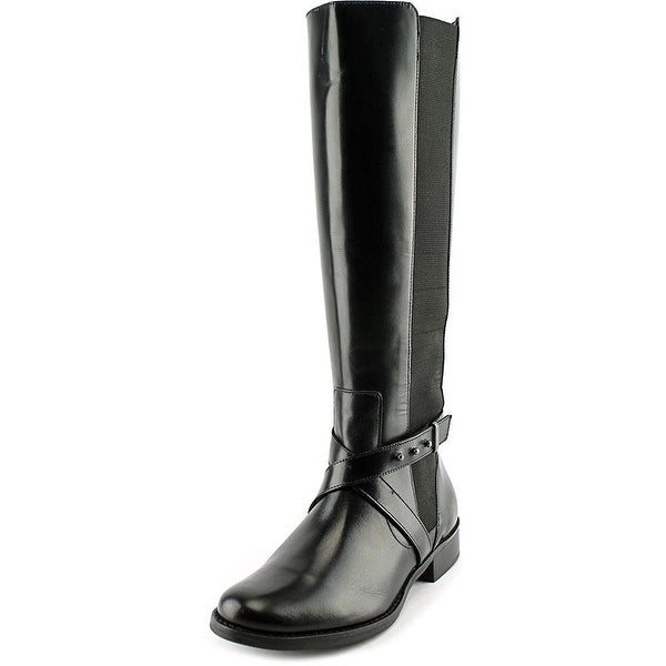 STEVEN by Steve Madden Womens Sydnee (Wide Calf) Leather Almond Toe Knee High...