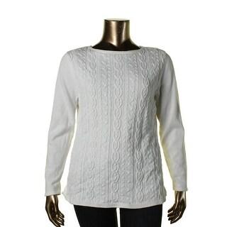 Karen Scott Womens Cable Knit Long Sleeves Pullover Sweater - XL