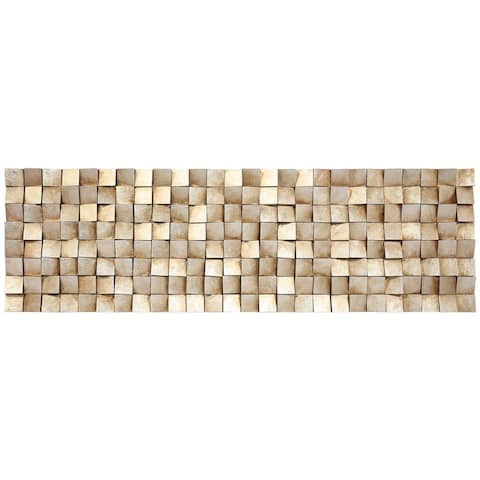 """""""Textured 2"""" Handed Painted Rugged Blocks with Gold Leaf Wall Art"""