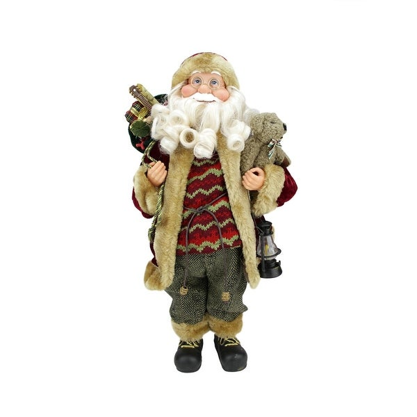 """18"""" Woodland-Inspired Standing Santa Claus Christmas Figure with Teddy Bear and Lantern"""